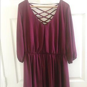 Maroon dress with lattice back
